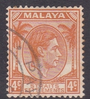 Malaysia-Straits Settlements SG 296 1938 King George VI, 4c Orange, Used - Straits Settlements