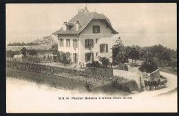 74-CHENS  - Pension Bellevue - Attelage - Edit M.M 90-  CPA  Dnd Recto Verso - Paypal Sans Frais  - - Autres Communes