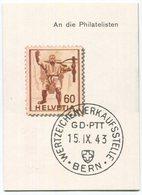 1817 - 1943 Wertzeichenverkaufsstelle BERN - Eröffnungs-Faltprospekt - Suisse