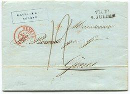 1820 - GENÈVE 17.JANV.1847 Auf Faltbrief Von GÈNES Mit Stempel VIA DI S.JULIEN - Suisse