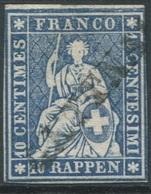 1822 - GETTNAU Stabstempel Auf 10 Rp. STRUBEL - 1854-1862 Helvetia (Non-dentelés)