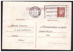 Entier Postal PETAIN Obl.Paris 108 Souscrivez Aux Vignettes De La Ville De PARIS Du 5.1.43. - 1921-1960: Période Moderne