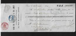 """BELGIQUE 1911 MANDAT A ORDRE DE """"VAN DE CASTEELE & DE SMET """" ARTICLES DE MODE EN BLANC - Textile & Vestimentaire"""