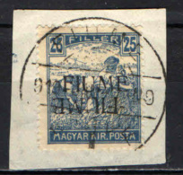 ITALIA - FIUME - 1918 - DOPPIA SOVRASTAMPA DI CUI UNA CAPOVOLTA - USATO - 8. WW I Occupation