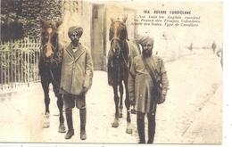 1914. NOS AMIS ANGLAIS ENVOIENT EN FRANCE DES TROUPES COLONIALES ARMEE DES INDES . TYPE DE CAVALIERS CARTE COLORISEE - Régiments