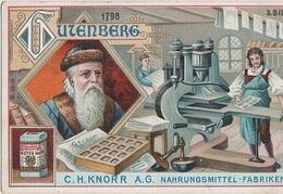 Sammelbild Knorr 's Johann Gutenberg Um 1798 Bild No 3 Handdruckpresse Stanhope Buchdruck - Kaufmanns- Und Zigarettenbilder