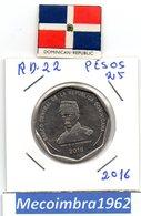 [*RD. 22*] - 25 Pesos 2016 Republica Dominicana - Luperon Heroe De La Restauracion - Dominicana
