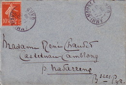 ALGERIE - SEMEUSE - 10c ROUGE - AMMI-MOUSSA - ORAN - 10-10-1908 - ENVELOPPE POUR LA FRANCE - Algeria (1924-1962)