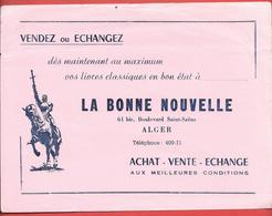 """Buvard Ancien PAPETERIE """" LA BONNE NOUVELLE Bd St Saëns à ALGER (Algérie) Illustration JEANNE D'ARC Sculptée P. HALBOUT - Papeterie"""