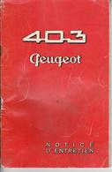 Au Plus Rapide Notice D'entretien Peugeot 403 - Cars