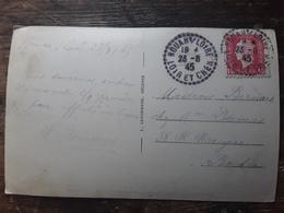 Cachet Tireté Facteur Boitier NOUAN S LOIRE Loir Et Cher Sur Marianne Dulac 691 1F50, Carte Cheverny Chateau 23.8.1945TB - 1944-45 Marianne De Dulac