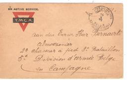 Lettre En Franchise S.M. Y.M.C.A. écrite Du Camp Ruchard C.PMB-BLP 14/10/15 V.Militaire Belge En Campagne JS280 - Esercito Belga