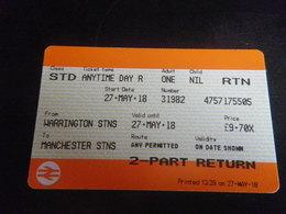 Ticket Manchester Warrington Aller Retour - Chemins De Fer
