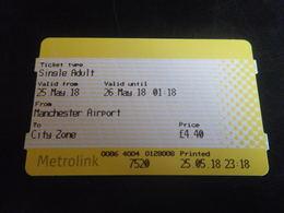 Ticket Manchester Aéroport METROLINK - Chemins De Fer