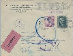 1947 , MADRID - BARCELONA , CERTIFICADO CONTRA REEMBOLSO , DEVUELTO A SU PROCEDENCIA - 1931-50 Storia Postale