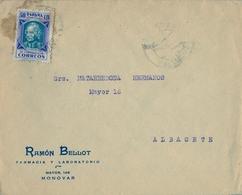 1937 , ALICANTE , MONÓVAR - ALBACETE , SOBRE COMERCIAL CIRCULADO , HUÉRFANOS DE CORREOS - 1931-Hoy: 2ª República - ... Juan Carlos I