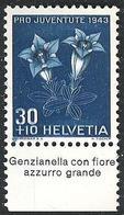 """Schweiz Suisse Svizzera: Pro Juventute 1943 Zu 108 Mi 427 Yv 391 ** MNH Con Tab """"Genzianella Con Fiore"""" (CHF 10.00) - Other"""