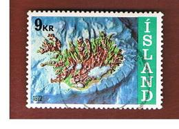 ISLANDA (ICELAND)  -  SG 499 - 1972   MAP                           -   USED - 1944-... Repubblica