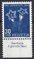 "Schweiz Suisse Svizzera: Pro Juventute 1943 Zu 108 Mi 427 Yv 391 ** MNH Avec Tab ""Gentiane à Grande Fleur"" (CHF 10.00) - Other"