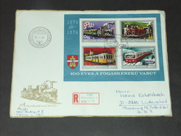 FDC Ersttag UNGARN HUNGARY 25.6.1974 (Block 107A): 100 Jahre Budapester Zahnradbahn - Eisenbahnen