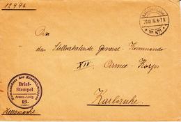 Env En Franchise Obl K.D.Feldpoststation / * Nr 471 * Du 20.12.16 + Cachet Kommandeur Der Kraftfahrtruppen / Armee-Abtlg - Guerre De 1914-18