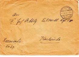 Env En Franchise Obl K.D.Feldpostexp / Des / Oberkommandos / Der / Heeres-Gruppe / V. Mackensen Du 12.8.16 Pour Karlsruh - WW I