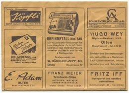 1839 - Mehrfachwerbung - Postcheckamt-Umschlag P 5605.-W.XI.55. - Suisse