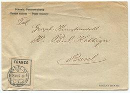 1842 - FRANCO Zettel Mit ABART Auf Brief Mit Stempel BASEL 23.VII.27 - Portofreiheit