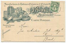 1843 - 5 Rp. Wertziffer Auf Litho-Postkarte - F.J. Burrus, BONCOURT - Manufactures De Tabacs Cigares Et Cigarettes - 1882-1906 Armoiries, Helvetia Debout & UPU