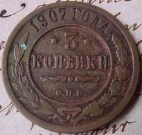 MONNAIE RUSSIE 3 KOPECK  Aigle Bicéphale 1907  , RUSSIA OLD COPPER  COIN - Russia