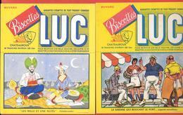 2 Buvards Anciens Biscottes LUC à CHATEAUROUX (Indre) MILLE ET UNE NUITS (SCHEHERAZADE & LA SARDINE QUI BOUCHAIT LE PORT - Biscottes