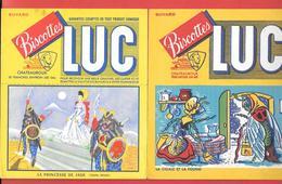 2 Buvards Anciens Biscottes LUC à CHATEAUROUX (Indre) PRINCESSE DE JADE & LA CIGALE ET LA FOURMI -fable De LA FONTAINE - Biscottes