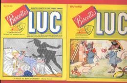 2 Buvards Anciens Biscottes LUC à CHATEAUROUX (Indre) BELLE AU BOIS DORMANT (TOILE ARAIGNEE) & RAT DES VILLES Et CHAMPS - Biscottes