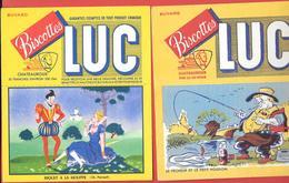 2 Buvards Anciens Biscottes LUC à CHATEAUROUX (Indre) RIQUET A LA HOUPPE (PERRAULT) & LE  PECHEUR ET PETIT POISSON - Biscottes