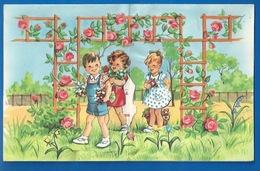 ILLUSTRATEUR : JEANNE LAGARDE - ENFANTS , PERGOLA ET ROSES - SYSTÈME POP UP - BONNE FETE MAMAN - 3 SCANS - Autres Illustrateurs