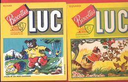 2 Buvards Anciens Biscottes LUC à CHATEAUROUX (Indre) L'OURS ET LES 2 CHASSEURS & LE CHAT ET LE MOINEAU - Biscottes
