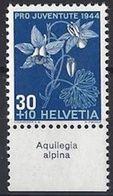 "Schweiz Suisse Svizzera: Pro Juventute 1944 Zu 112 Mi 442 Yv 402 ** MNH & Tab ""Aquilegia Alpina"" (CHF 10.00) - Other"