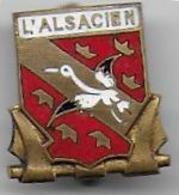 L' ALSACIEN - Contre Torpilleur - Insigne émaillé  ( 18 X 16 Mm ) Poinçon A.B. - Marinera