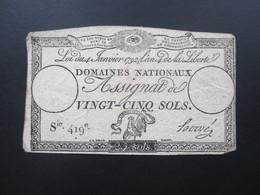 Frankreich Assignat De Vingt - Cinq Sols 4. Janviers 1792. Sie 419e. 25 Sols - ...-1889 Francs Im 19. Jh.