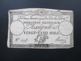 Frankreich Assignat De Vingt - Cinq Sols 4. Janviers 1792. Sie 419e. 25 Sols - ...-1889 Francos Ancianos Circulantes Durante XIXesimo