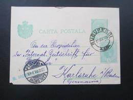 Rumänien 1901 Ganzsache Mit Zusatzfrankatur Nach Karlsruhe Mit AK Stempel! S. Moseson Strada Politiei 11. - 1881-1918: Charles I