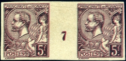 (Lot 278)= MONACO N°21(*) No Gum; N.D. Paire Millésime 7. Double Impression Noir Et Rouge. Tirage D'essai (origine BEHR) - Monaco