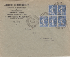 Env Affr Y&T 279 X 5 Obl STRASBOURG NEUDORF Du 18.8.35 Adressée à Strasbourg - Postmark Collection (Covers)