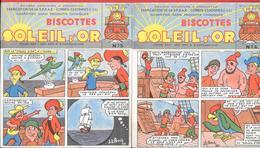 """2 Buvards Anciens Biscottes """"SOLEIL D'OR"""" Bandes Dessinées N° 5 Et 6  Par J.L.PESCH  Fab. S.P.R.A.E. Corbeil-Essonnes - Biscottes"""