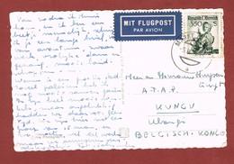 Luftpost Karte Wien - Belgisch Kongo 5/9/1956 Frankatur 3.50 Sch. - Luftpost
