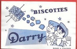 Buvard Ancien BISCOTTES DARRY - Illustré - Le Paquet De Biscottes Satellisé Monte Vers Les étoiles - Biscottes