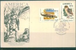 L6600 Uruguay 1993 Americas Postal Union - All 1 First Day Cover Of Crocodile And Owl 2 - Birds