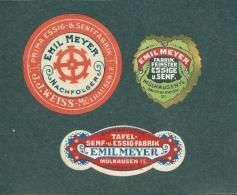 Lot De 3 étiquettes Moutarde Vinaigre Emil Meyer Essig Senf Fabrik Mülhausen Mulhouse Sausheimerstrasse TBE - Altri