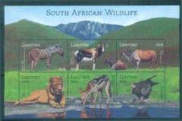 YD7384a Lesotho 2001 Southwestern Non-animal Elephant Zebra Lion Bird Ms - Birds