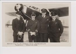 Vintage Rppc KLM K.L.M Royal Dutch Airlines Crew Christmas Flight 1934 Before Fokker F-18 Aircraft - 1919-1938: Between Wars